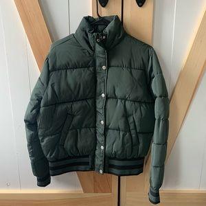 Hunter green puffer coat
